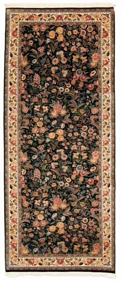 Bordered  Traditional Green Runner rug 10-ft-runner Pakistani Hand-knotted 331288
