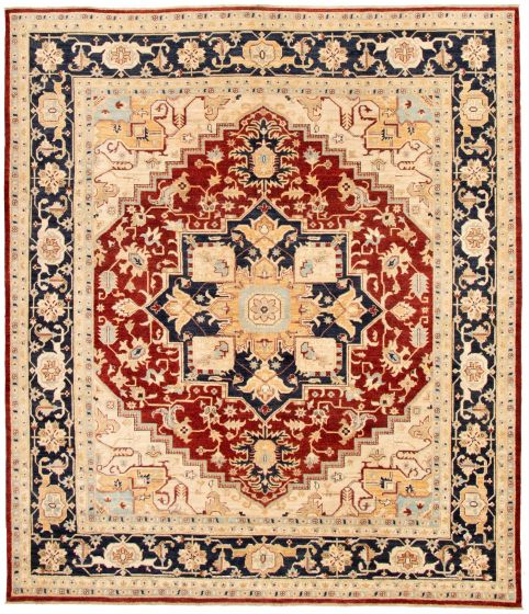 Bordered  Traditional Red Area rug 6x9 Pakistani Hand-knotted 330608