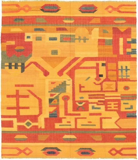 Casual  Flat-weaves & Kilims Orange Area rug 6x9 Turkish Flat-weave 336010