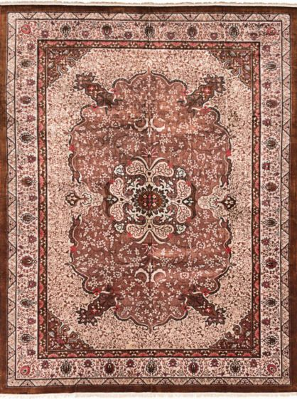 Traditional Brown Area rug 9x12 Chinese Hand-knotted 206261