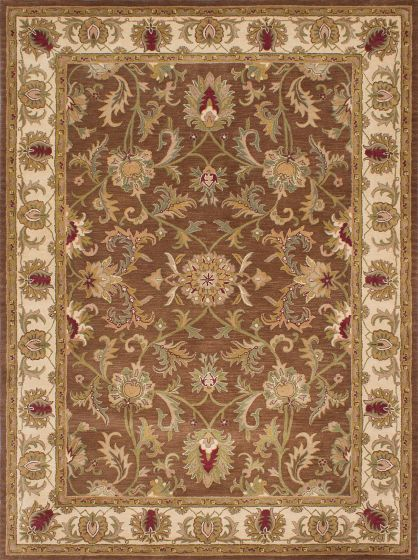 Traditional Brown Area rug 9x12 Indian Hand Tufted 209470
