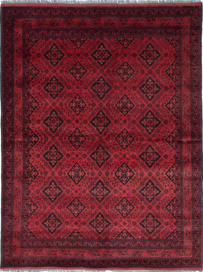 Traditional Red Area rug 5x8 Afghan Hand-knotted 222066