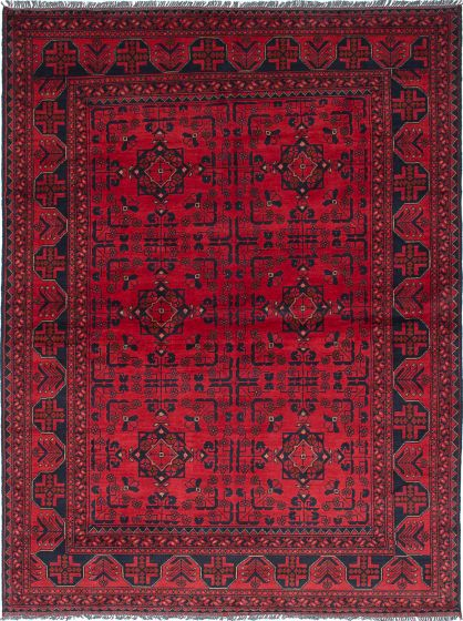 Traditional Red Area rug 5x8 Afghan Hand-knotted 222126