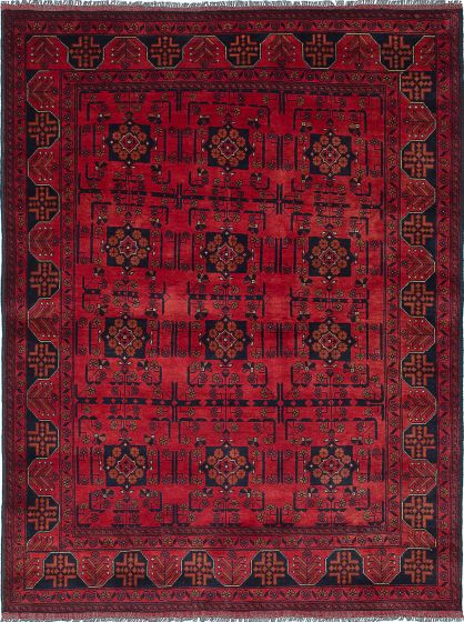 Traditional Red Area rug 5x8 Afghan Hand-knotted 222375