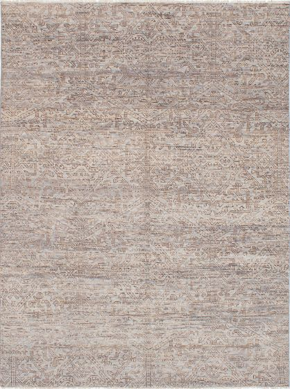 Floral  Transitional Grey Area rug 6x9 Indian Hand-knotted 223791