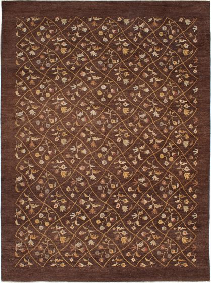 Transitional Brown Area rug 9x12 Indian Hand-knotted 228009