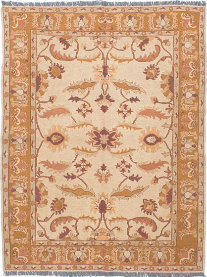 Traditional Ivory Area rug 4x6 Afghan Flat-weave 230580
