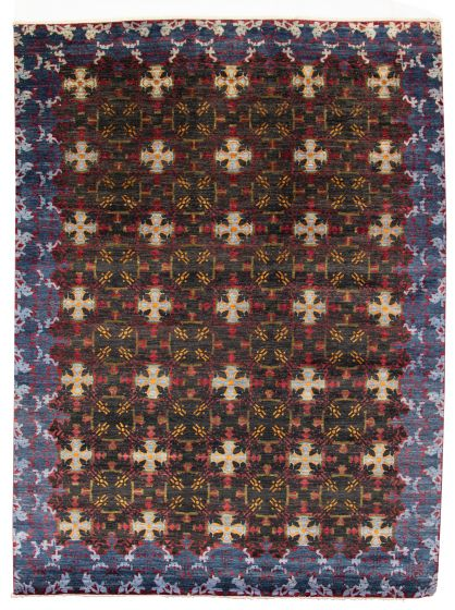 Bordered  Transitional Black Area rug 9x12 Pakistani Hand-knotted 311016