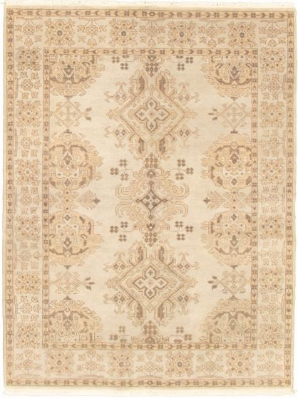 Bordered  Transitional Grey Area rug 4x6 Indian Hand-knotted 326107