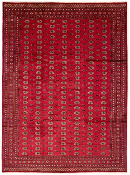 Bordered  Tribal Red Area rug 10x14 Pakistani Hand-knotted 330024