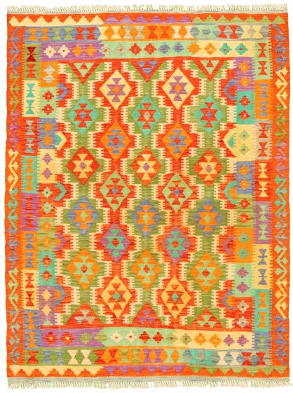 Bordered  Geometric Red Area rug 4x6 Turkish Flat-weave 330217