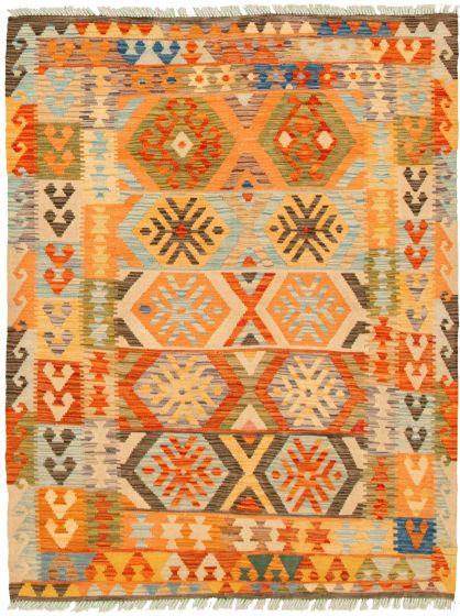 Bordered  Geometric Multi Area rug 4x6 Turkish Flat-weave 330250