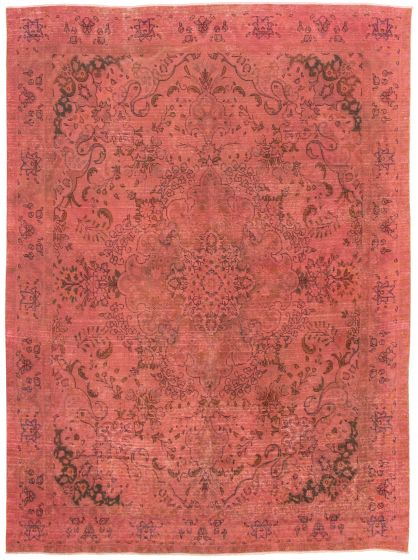 Bordered  Transitional Pink Area rug 9x12 Turkish Hand-knotted 330355