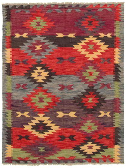 Bohemian  Geometric Red Area rug 4x6 Turkish Flat-weave 336769