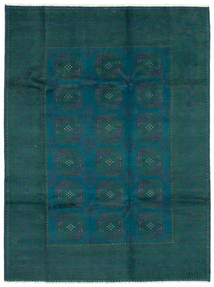 Bordered  Tribal Blue Area rug 6x9 Afghan Hand-knotted 342090