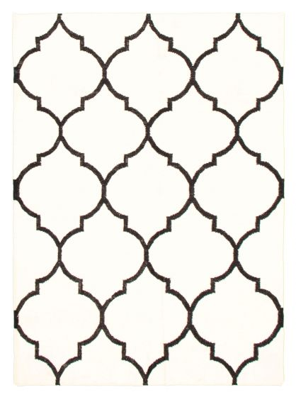 Flat-weaves & Kilims  Transitional Ivory Area rug 4x6 Indian Flat-weave 344449