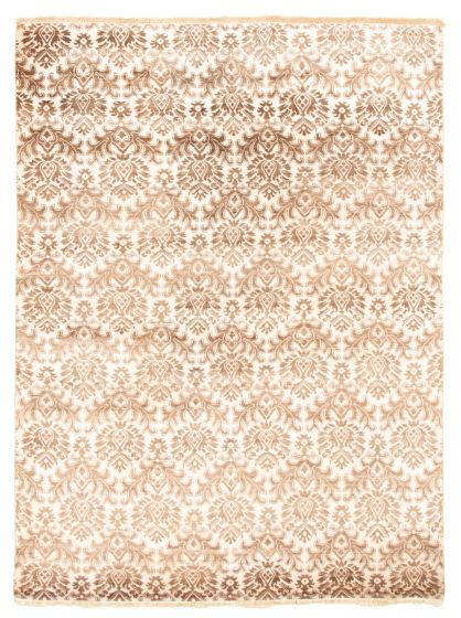 Casual  Transitional Brown Area rug 5x8 Indian Hand-knotted 345531