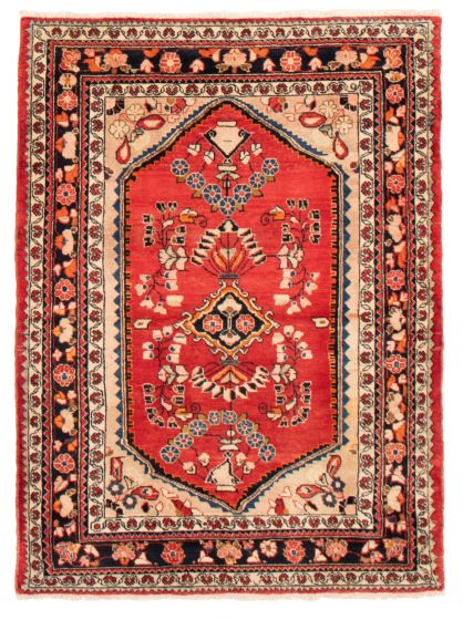 Bordered  Traditional Red Area rug 4x6 Persian Hand-knotted 358671
