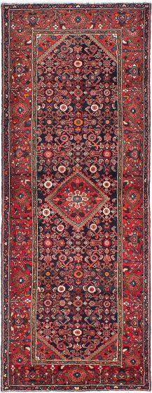 Traditional Blue Runner rug 11-ft-runner Persian Hand-knotted 217298