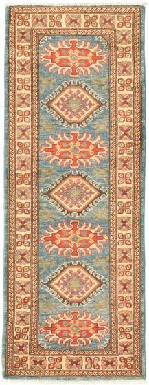 Bordered  Traditional Blue Runner rug 6-ft-runner Afghan Hand-knotted 331516