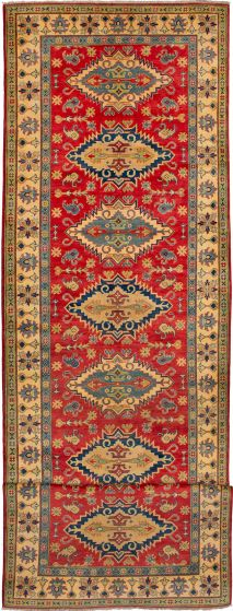 Bordered  Traditional Red Runner rug 19-ft-runner Afghan Hand-knotted 272497