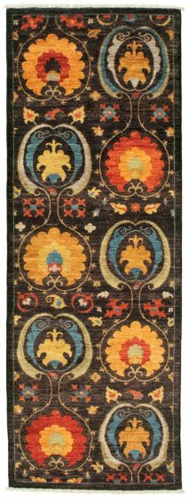 Traditional  Transitional Black Runner rug 8-ft-runner Pakistani Hand-knotted 342102