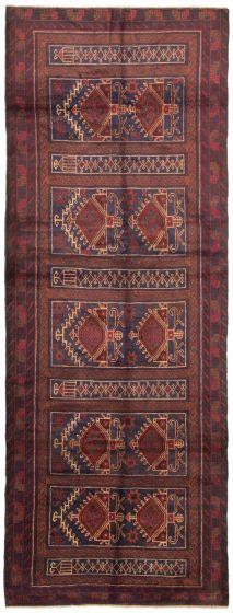 Bordered  Tribal Blue Runner rug 12-ft-runner Afghan Hand-knotted 342430