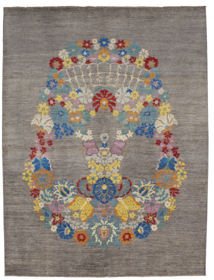 FloralTransitional Grey Area rug 9x12 Pakistani Hand-knotted 206395