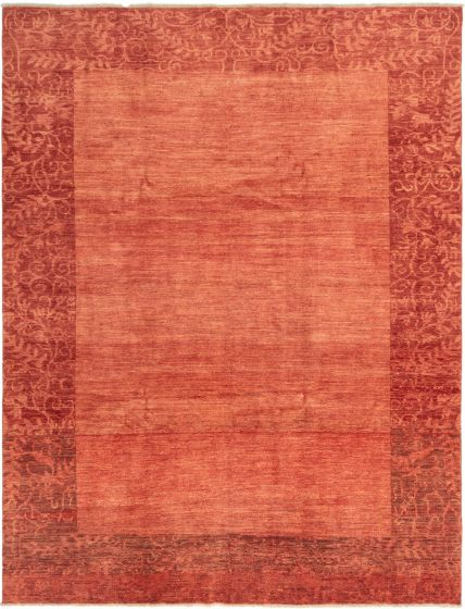 Bordered  Traditional Red Area rug 8x10 Afghan Hand-knotted 280336