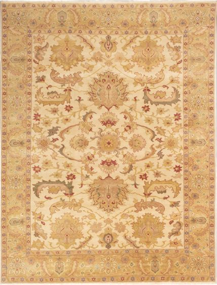 Bordered  Transitional Ivory Area rug 9x12 Turkish Hand-knotted 280803