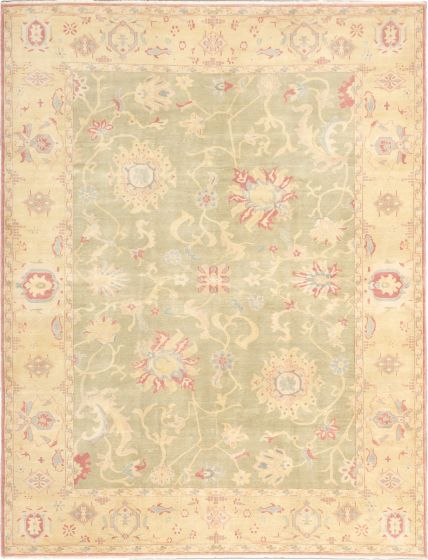 Bordered  Transitional Green Area rug 9x12 Turkish Hand-knotted 280829