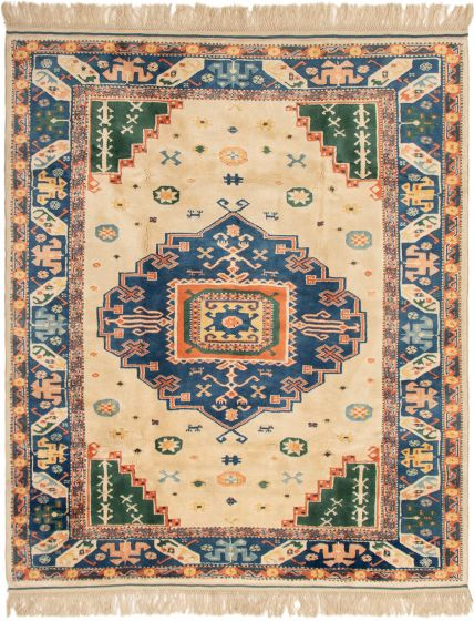Bordered  Traditional Ivory Area rug 6x9 Turkish Hand-knotted 293348