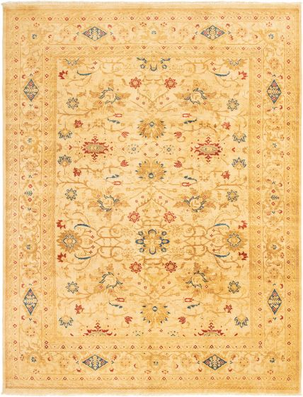 Bordered  Traditional Ivory Area rug 9x12 Indian Hand-knotted 294123