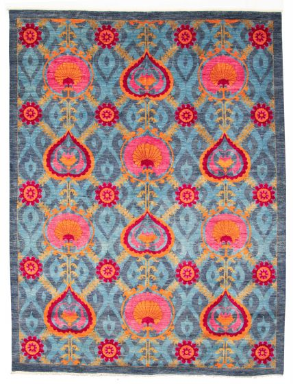 Bordered  Transitional Blue Area rug 9x12 Pakistani Hand-knotted 311033