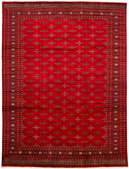 Bordered  Tribal Red Area rug 9x12 Pakistani Hand-knotted 330027