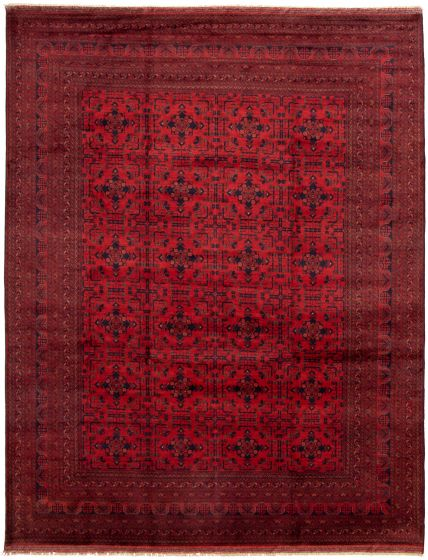 Bordered  Tribal Red Area rug 9x12 Afghan Hand-knotted 330042