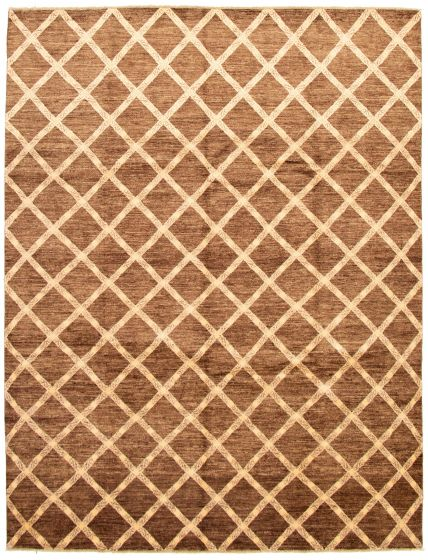 Geometric  Transitional Brown Area rug 6x9 Pakistani Hand-knotted 330646