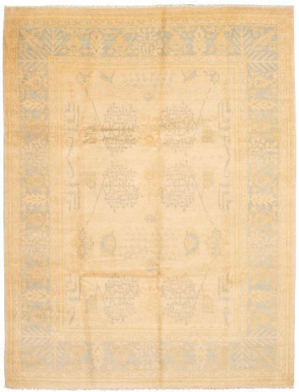 Bordered  Transitional Ivory Area rug 9x12 Pakistani Hand-knotted 337640
