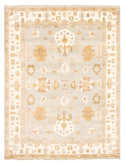 Bordered  Traditional Grey Area rug 9x12 Indian Hand-knotted 344871