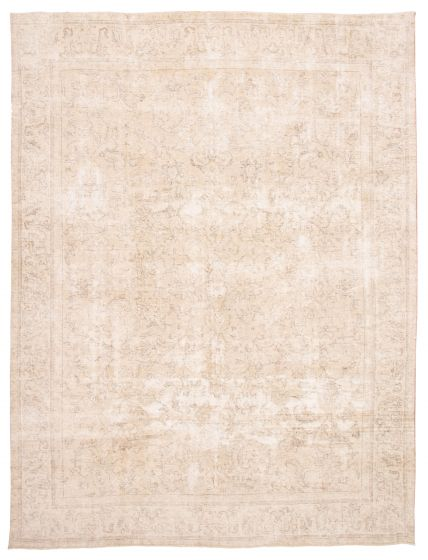 Bordered  Vintage Yellow Area rug 9x12 Turkish Hand-knotted 360560