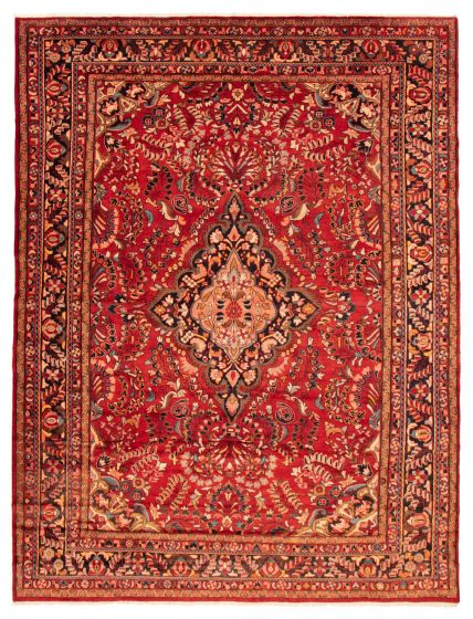 Bordered  Traditional Red Area rug 9x12 Persian Hand-knotted 366580