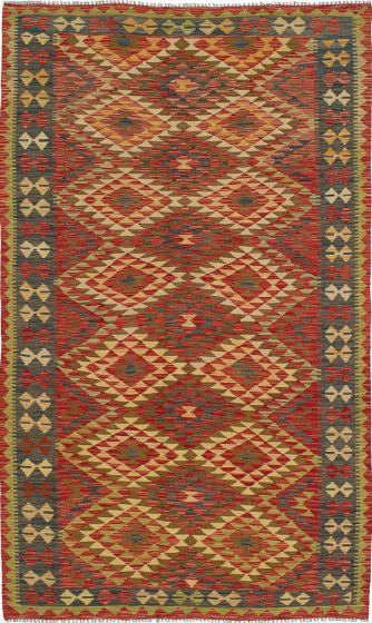Flat-weaves & Kilims  Traditional Red Area rug 5x8 Turkish Flat-weave 212513