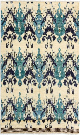 Casual  Transitional Ivory Runner rug 14-ft-runner Indian Hand-knotted 280694