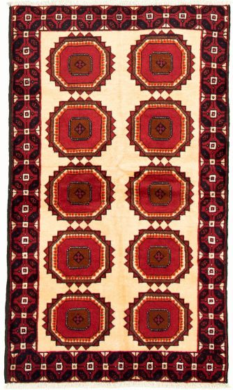 Bordered  Tribal Ivory Area rug 3x5 Afghan Hand-knotted 334118