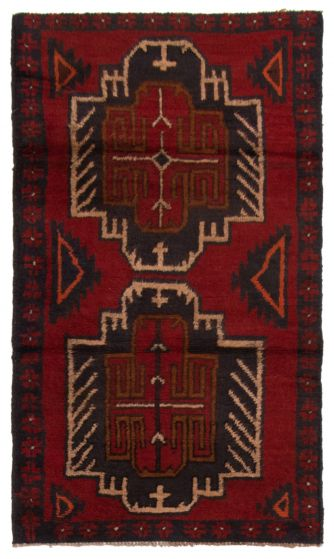 Bordered  Tribal Red Area rug 3x5 Afghan Hand-knotted 357158