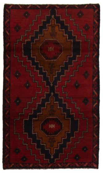 Bordered  Tribal Red Area rug 3x5 Afghan Hand-knotted 357165