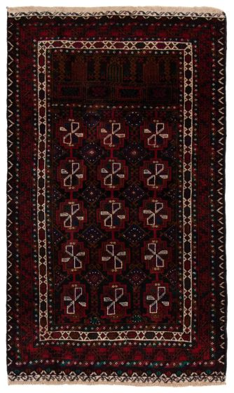 Bordered  Tribal Red Area rug 3x5 Afghan Hand-knotted 360587