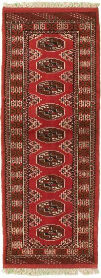 Bordered  Tribal Brown Runner rug 6-ft-runner Turkmenistan Hand-knotted 333934