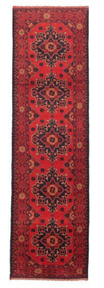 Bordered  Traditional Red Runner rug 10-ft-runner Afghan Hand-knotted 342319