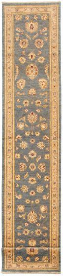 Bordered  Traditional Blue Runner rug 14-ft-runner Afghan Hand-knotted 331473